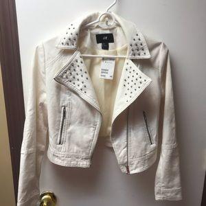 H&M white studded jacket
